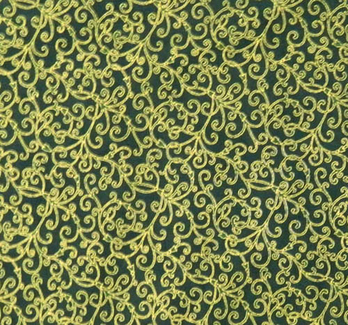 Patchwork Quilting Fabric GREEN WITH GOLD METALLIC Sewing Cotton FQ50X55cm NEW