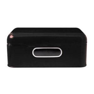 Enamel Retro Kitchen Bread Box, Yesteryear BLACK Hinged Lid Window FREEPOST