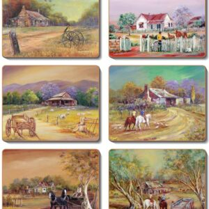 Country Inspired Kitchen HOMESTEADS Cinnamon Cork backed Placemats or Coasters Set 6 NEW