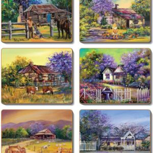 Country Inspired Kitchen JACARANDA HOUSE Cinnamon Cork backed Placemats or Coasters Set 6