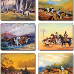 Country Kitchen MAN FROM SNOWY RIVER Cinnamon Cork backed Placemats or Coasters Set 6