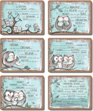 Country Inspired Kitchen MINT OWL Cinnamon Cork backed Placemats or Coasters Set 6 NEW