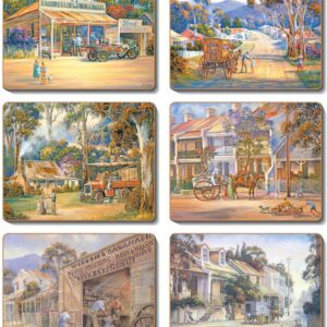 Country Inspired Kitchen TOWNS Cinnamon Cork backed Placemats or Coasters Set 6 NEW