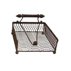 French Country Vintage Inspired Kitchen BBQ Napkin Serviette Holder Dark Bar Wrought Iron