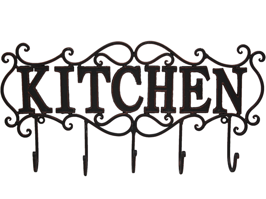 French Country Vintage Inspired Wrought Iron Antique Black KITCHEN Sign with Hooks New
