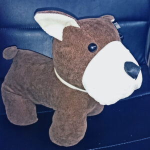 French Country Vintage Inspired DOGS DOOR STOPPER Brown with White Face Weighted New Stuffed