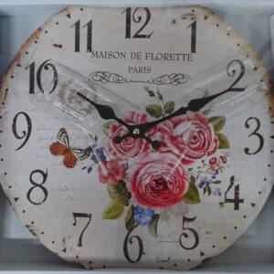 French Country Chic Retro Inspired Wall Clock 34CM MAISON DE FLORETTE PARIS New Time