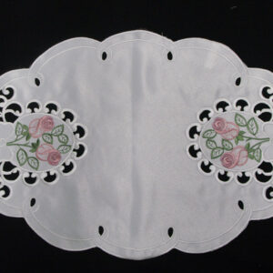 French Country Chic Shabby Doiley PINK ROSE BUD Doily Lace Placemat Duchess Embroidery Centerpiece New