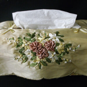 French Country Inspired Embroidered Satin Assorted Colours Tissue Box Cover Fabric New Shabby Chic
