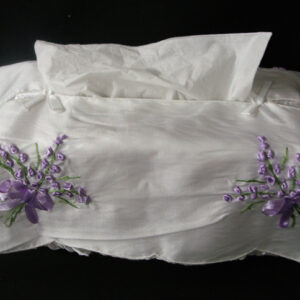 French Country Inspired Embroidered Satin Assort Colours Lavendar Tissue Box Cover New Shabby Chic
