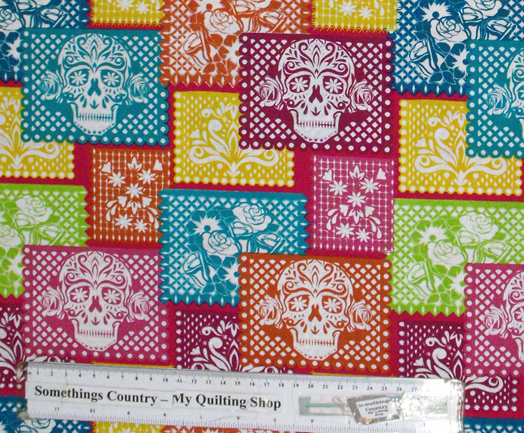 Quilting Patchwork Cotton Sewing Fabric SUGAR SKULLS BRIGHT 50x55cm FQ NEW Material www.somethingscountry.com.au