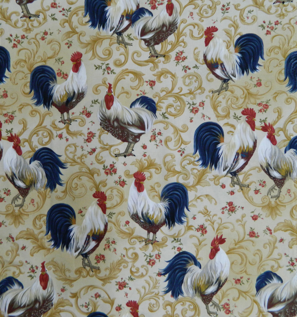 Quilting patchwork cotton sewing fabric country rooster for Cotton quilting fabric