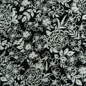 Quilting Patchwork Cotton Sewing Fabric BLACK & WHITE FLORAL 50x55cm FQ NEW www.somethingscountry.com