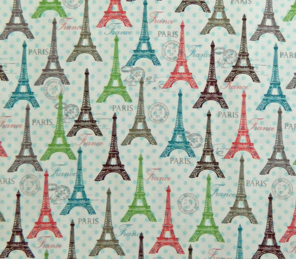 Quilting Patchwork Cotton Sewing Fabric PARIS EIFFEL TOWERS 50x55cm FQ NEW www.somethingscountry.com
