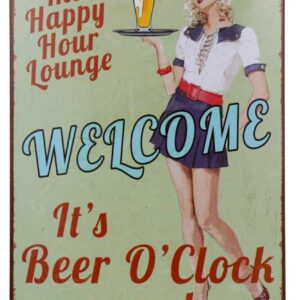 Tin Sign French Country Vintage Inspired Retro Wall Art, It's Beer O'Clock Somewhere NEW Man Cave Bar Sign