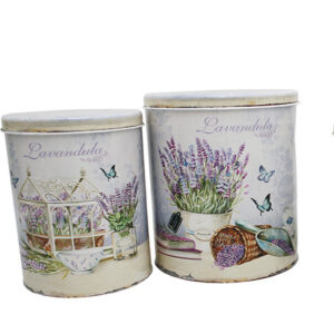 French Country Vintage Inspired Kitchen Canisters Set 2 Tins LAVENDER New