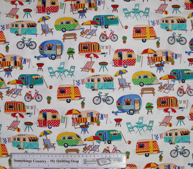 Quilting Patchwork Cotton Sewing Fabric GET AWAY CARAVAN 50x55cm FQ NEW
