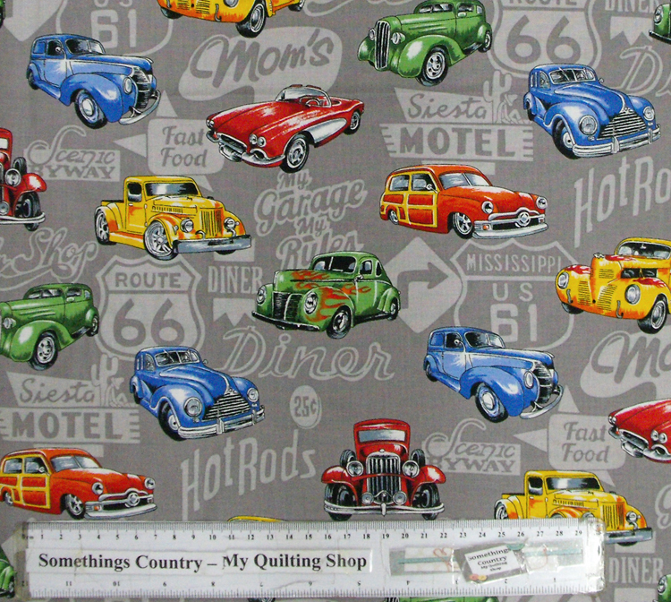 Quilting Patchwork Cotton Sewing Fabric HOT ROD CARS 50x55cm FQ NEW