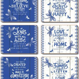 Country Inspired Kitchen INDIGO Cinnamon Cork Backed Placemats or Coasters Set 6