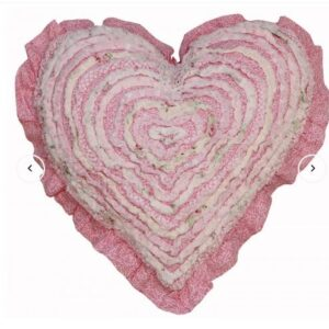 French Country New Cushion MIA Ruffled Heart Cushion Filled 45cm new