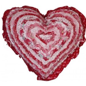 French Country New Cushion SCARLET Ruffled Heart Cushion Filled 45cm new