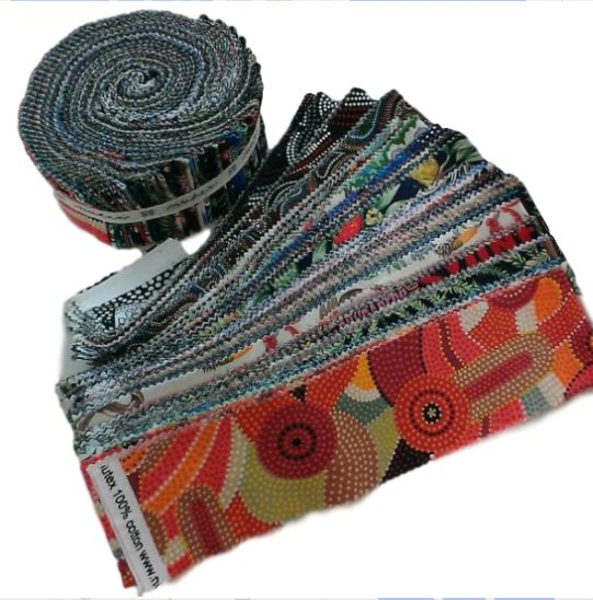 "2.5/"" Aboriginal Jelly Roll Dreamtime Roll Indigenous Quilting Patch multi-colour"