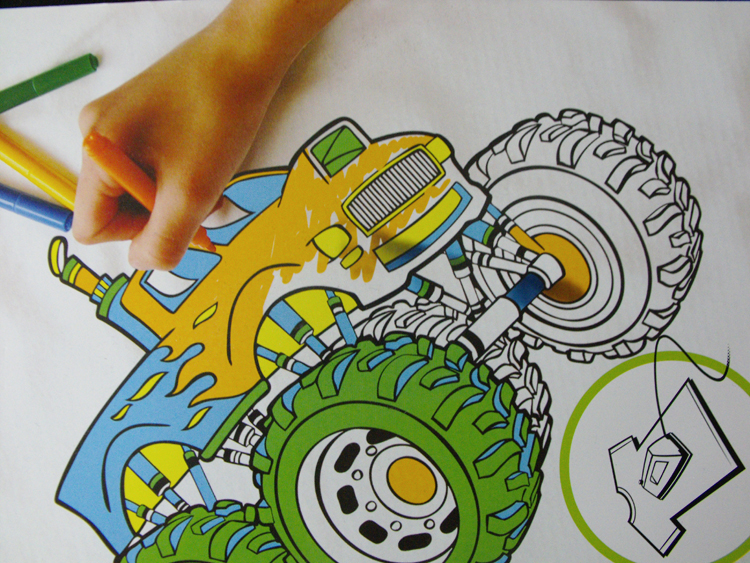 COLOUR MY OWN T-Shirt Transfer Black Felt LARGE Retro TRUCK Color In New