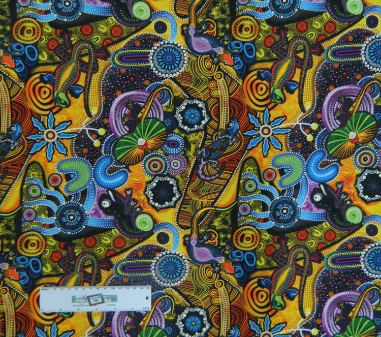 Quilting Patchwork Sewing Fabric GOANNA WALKABOUT Allover Cotton 50x55cmFQ NEW
