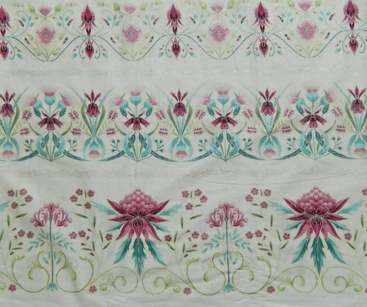 Quilting Patchwork Sew Australian Gum Leaves Warratah Cream Border 50x55cmFQ NEW