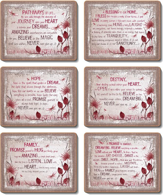 Country Kitchen HEART AFFIRMATIONS Cork Placemats/Coasters