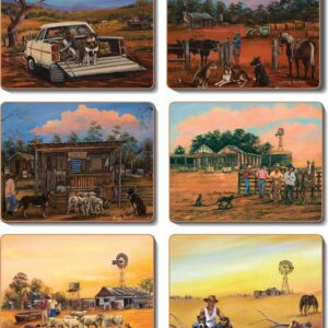 Country Kitchen KELPIE KAPERS Motorbikes Cork Placemats/Coasters Set 6 NEW Cinnamon