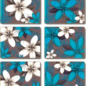 Country Inspired Kitchen AQUA FRANGIPANNI Cinnamon Cork backed Placemats/Coasters Set 6