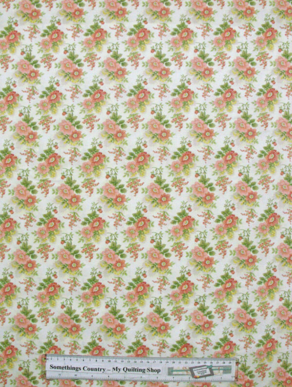 Quilting Patchwork Sewing Fabric GENTLE GARDEN FLORAL WHITE 50x55cm FQ NEW