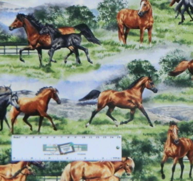 Patchwork Quilting Sewing Cotton Fabric HORSES PASTURES 50x55cm New