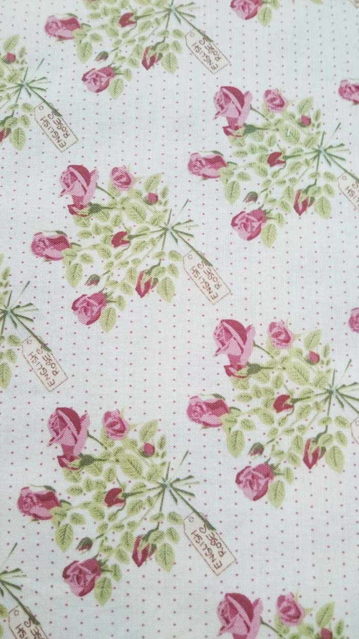 Quilting Patchwork Sewing Cotton Fabric LIZZY'S GARDEN ROSES 50x55cm FQ NEW