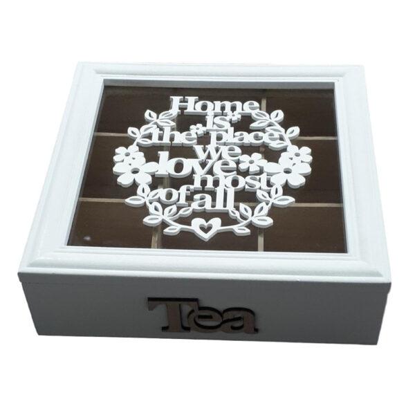 French Country Modern Tea Bag Box WHITE Wooden Canister Teabag Holder New