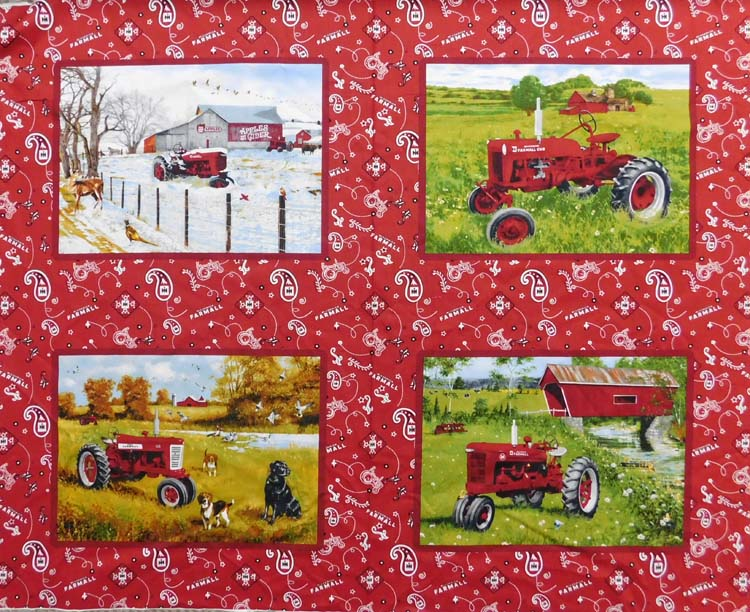 Patchwork Quilting Sewing Fabric FARMALL TRACTOR CUSHION Panel 90 x 110cm New Material