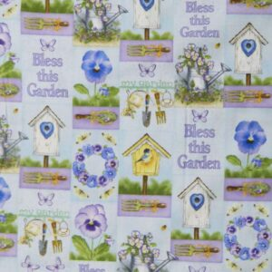 Quilting Patchwork Sewing Cotton Fabric PRETTY PANSY GARDEN 50x55cm FQ NEW