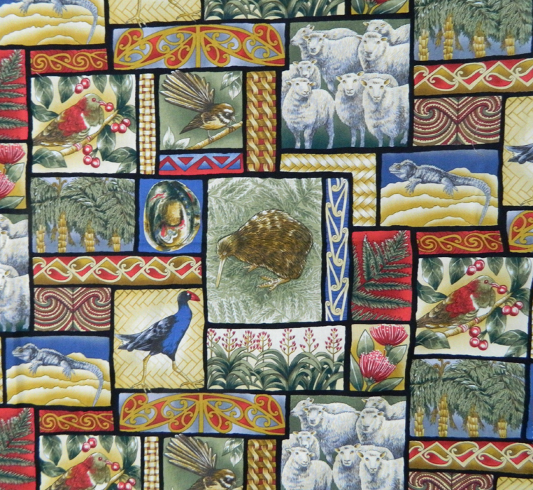 Quilting Patchwork Sewing Cotton Fabric NEW ZEALAND KIWIS 50x55cm FQ NEW