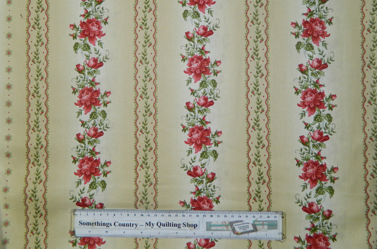 Quilting Patchwork Sewing Cotton Fabric RED FLOWERS BORDER 50x55cm FQ NEW