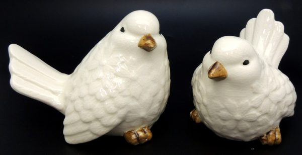 French Country Ornamental Set of 2 Birds CREAM Collectable Gift Idea New