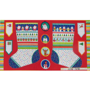 Patchwork Quilting Sewing Fabric Xmas Stockings Panel 60x110cm New