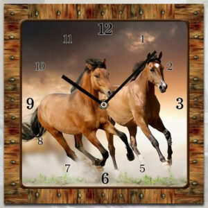 French Country Chic Retro Inspired Wall Clock 15CM BROWN HORSES New