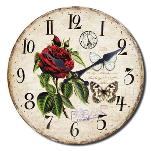 French Country Chic Wall Clocks Retro Inspired 30cm RED ROSE New Time