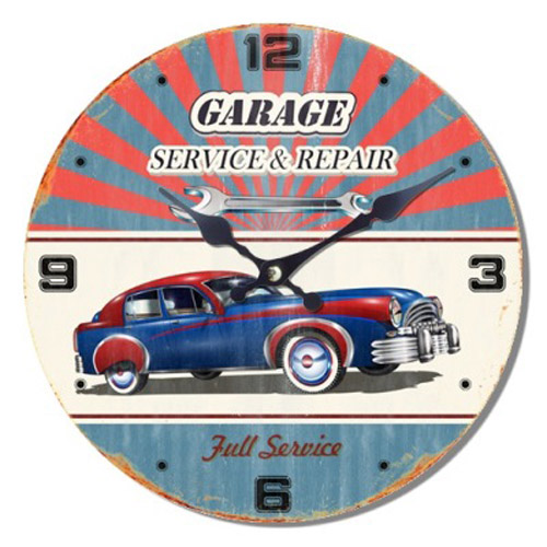French Country Chic Wall Clocks Retro Inspired 30cm GARAGE CAR REPAIRS New Time