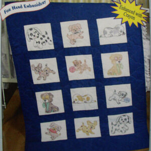 Preprinted Stamped Embroidery Quilting Blocks with Stitching PUPPIES Fabric Kit NEW