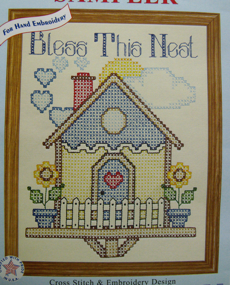 Preprinted Stamped Embroidery BLESS THIS NEST X Stitch with Broadcloth Fabric NEW