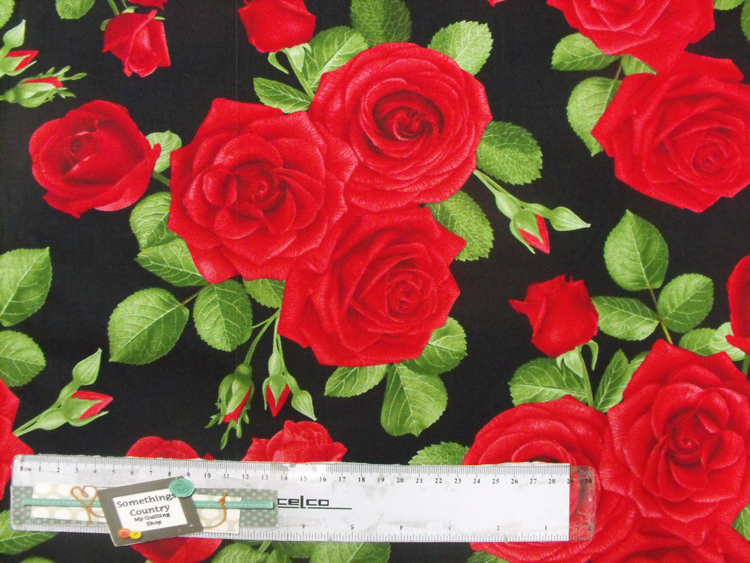 Patchwork Quilting Sewing Fabric LARGE RED ROSES Material Cotton 50x55cm FQ New
