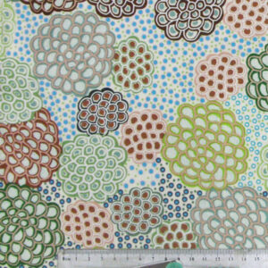 Patchwork Quilting Sewing Fabric ABORIGINAL DANCING FLOWERS Material Cotton 50x55cm FQ New