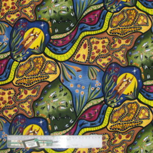 Bambillah has been designed by Nambooka for M&S Textiles Australia. It is a very popular design. Nambooka has depicted the flying glider at night which is a symbol of strength. The pattern successfully portrays the spiritual world in the eyes of native Australians. Nambooka is a well-known designer in Victoria, Australia. Her artwork is colorful, vibrant and decorative. M&S Textiles Australia is the largest manufacturer of Australian Aboriginal designs printed on good quality 100% cotton fabric. Aboriginal artworks are popular throughout the world and the only living ancient artworks. Its tradition goes back 50,000 years ago revealed by carbon dating of rock painting, cave painting etc. It is amazing that many of the artists do not have any formal education or training.